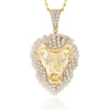 10k Yellow Gold 4.70ct Lion's Head Pendant Frontal