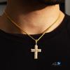 10k Yellow Gold Diamond Cross 3ct On Neck Shyne Jewelers