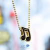 14k Yellow Gold Enamel Sixteenth Note Music Pendant