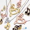 14k Yellow Gold Enamel Treble Clef Music Note Pendant