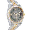 Rolex DateJust Two Tone Iced Out Grey Dial