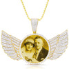 Large Custom 10kt Gold Picture Pendant With Diamond Wings 7.5 ctw