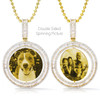 Custom 10kt Gold Double Sided Spinning Picture Pendant With Baguette Diamonds