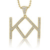 10k Custom Yellow Gold Diamond Double K Initial Pendant