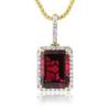 14k Yellow Gold 1ct Diamond Ruby Pendant