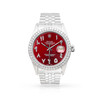 Rolex DateJust 36mm Stainless Steel with Custom Red Diamond Dial