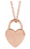 14kt Gold Engravable Heart Lock Necklace