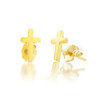 14k Gold Cross Studs