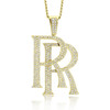 10k Yellow Gold 12ct Diamond Double RR Pendant On Chain Front View