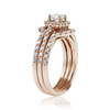 14k Rose Gold 3pc. Set 3ct Diamond Ring