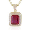 10k Yellow Gold Sapphire Large Ruby Pendant