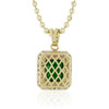 10k Yellow Gold Sapphire Large Emerald Pendant