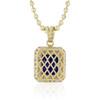 10k Yellow Gold Sapphire Large Blue Sapphire Pendant