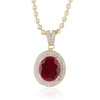 10k Yellow Gold and Sapphire Oval Ruby Pendant
