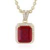 10k Yellow Gold Sapphire Small Ruby Pendant