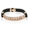 14k Rose Gold 1.25ct Diamond Leather Cuban Link Bracelet