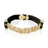 14k Yellow Gold 1.25ct Diamond Leather Cuban Link Bracelet