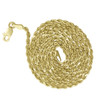 10k Solid Gold 2mm Rope Chain Necklace Yellow Gold Spiral View