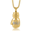 10k Custom Yellow Gold 1.5ct Diamond Initial Boxing Glove Pendant On Chain Front View