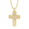 14k Yellow Gold 1ct Diamond Cross Pendant Front
