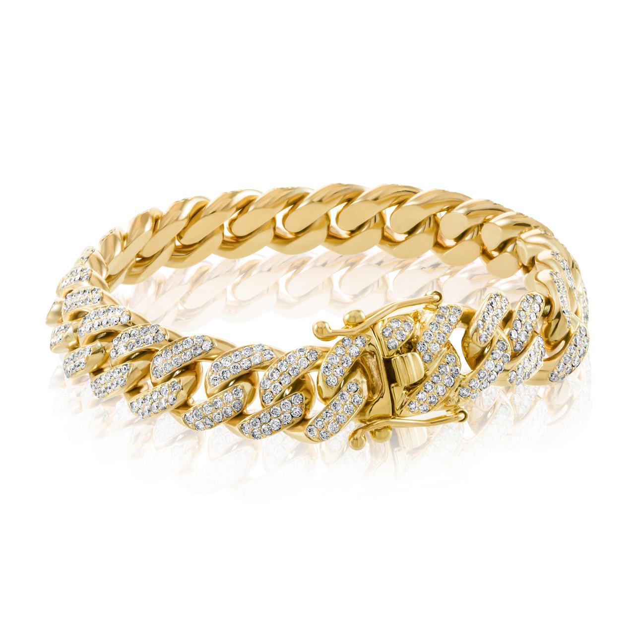 4dbb09c746e56 10k Yellow Gold 16ct Diamond Cuban Link Bracelet