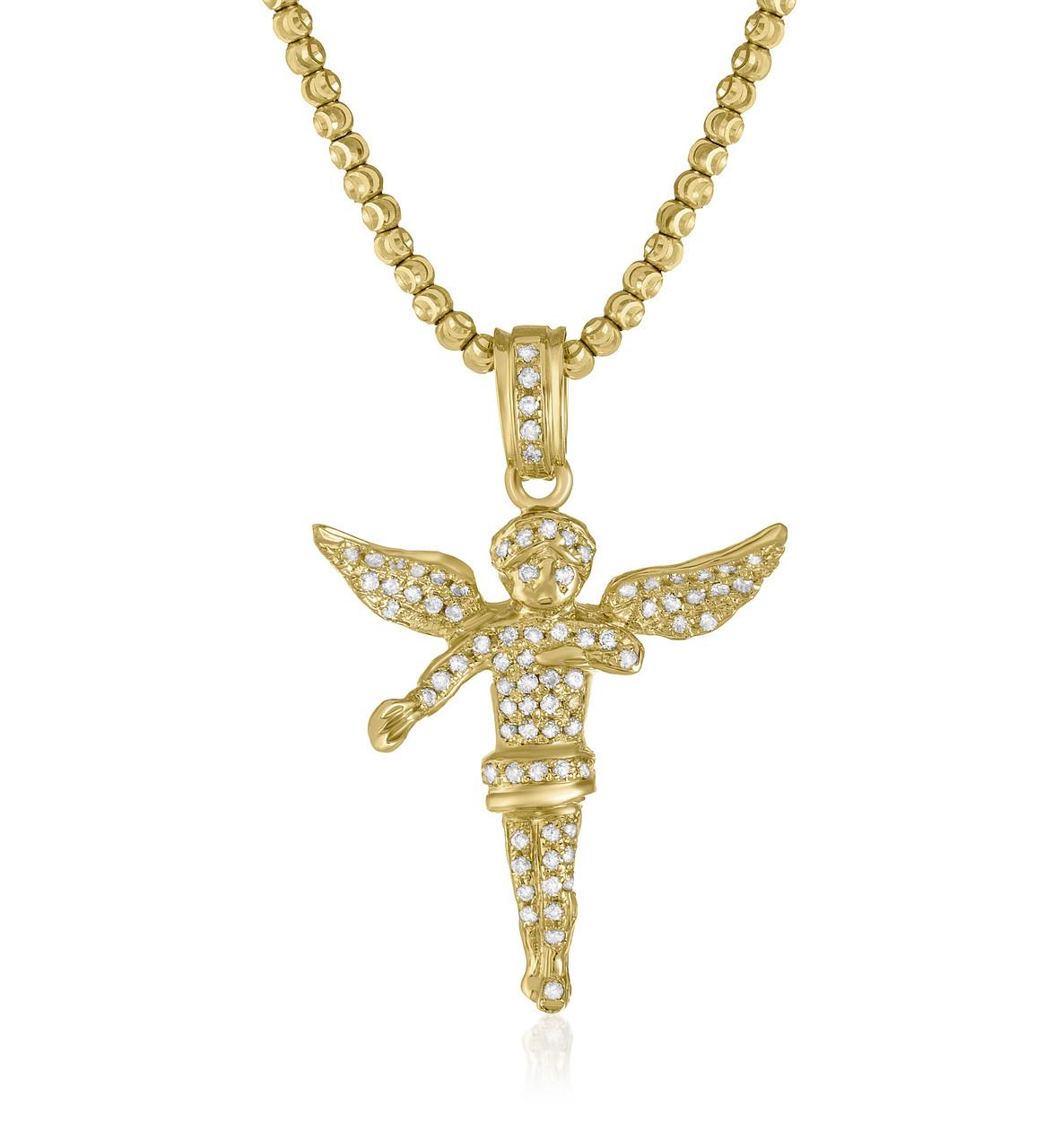 804e50c1088ed 10k Yellow Gold 1.25 Diamond Angel Pendant