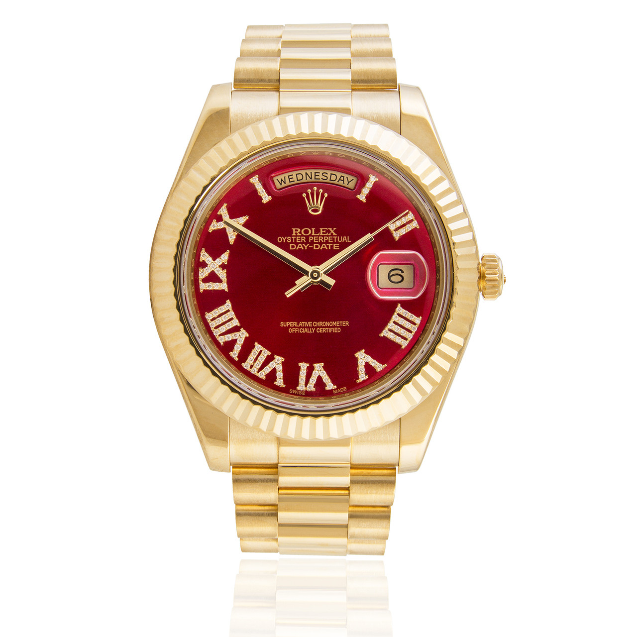Rolex Day Date Ii 18k Yellow Gold President Red Dial Automatic Mens Watch