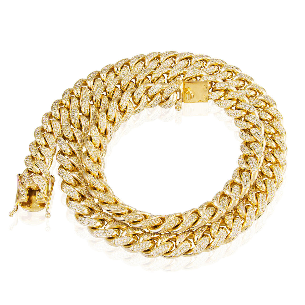 10k Gold Cuban Link Chain >> 10k Yellow Gold 26ct Diamond 14 5mm Cuban Link Chain 31in