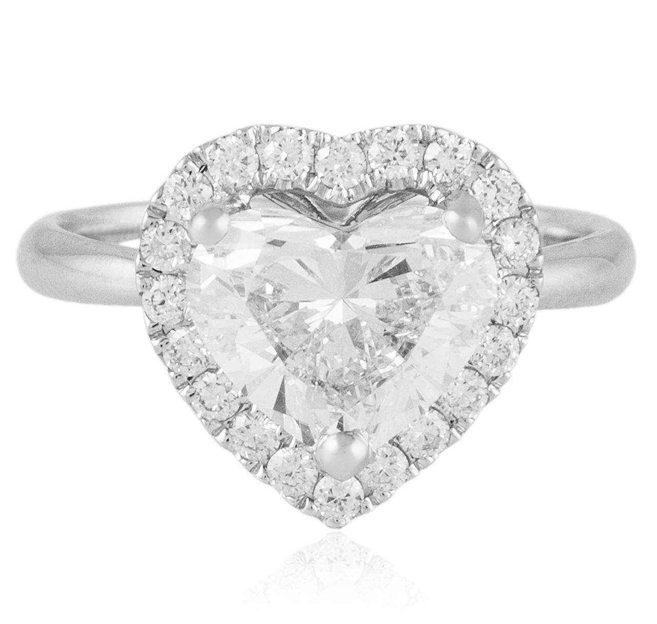 18K White Gold 3.24ct Heart Shape Diamond Engagement Ring ...