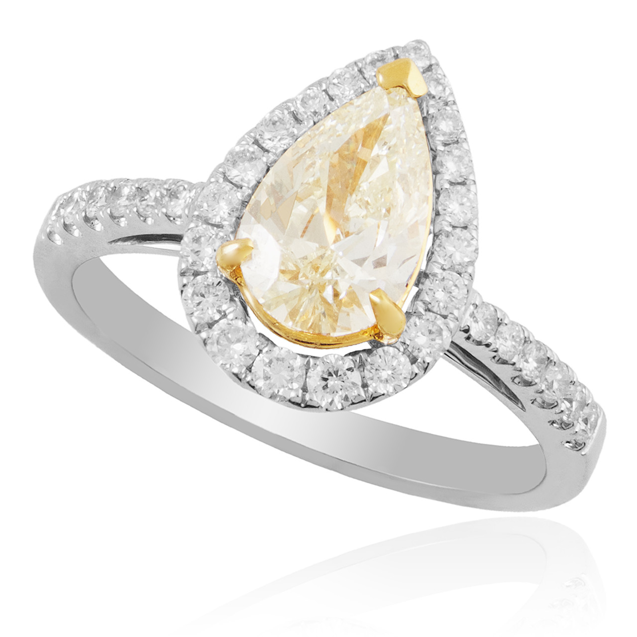 7615868a46 18K White Gold 1.45ct Pear Shape Canary Diamond Engagement Ring - Shyne  Jewelers