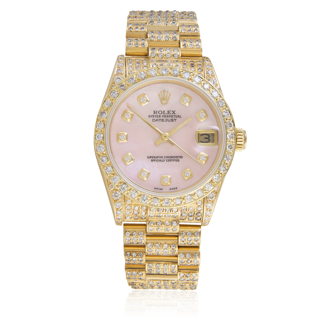 Rolex DateJust 18k Yellow Gold President 11.5ct Diamond Automatic Women\u0027s  Watch