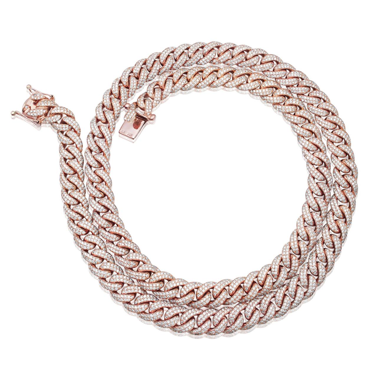 10k Gold Cuban Link Chain >> 10k Rose Gold 30ct Diamond 12mm Cuban Link Chain 30in