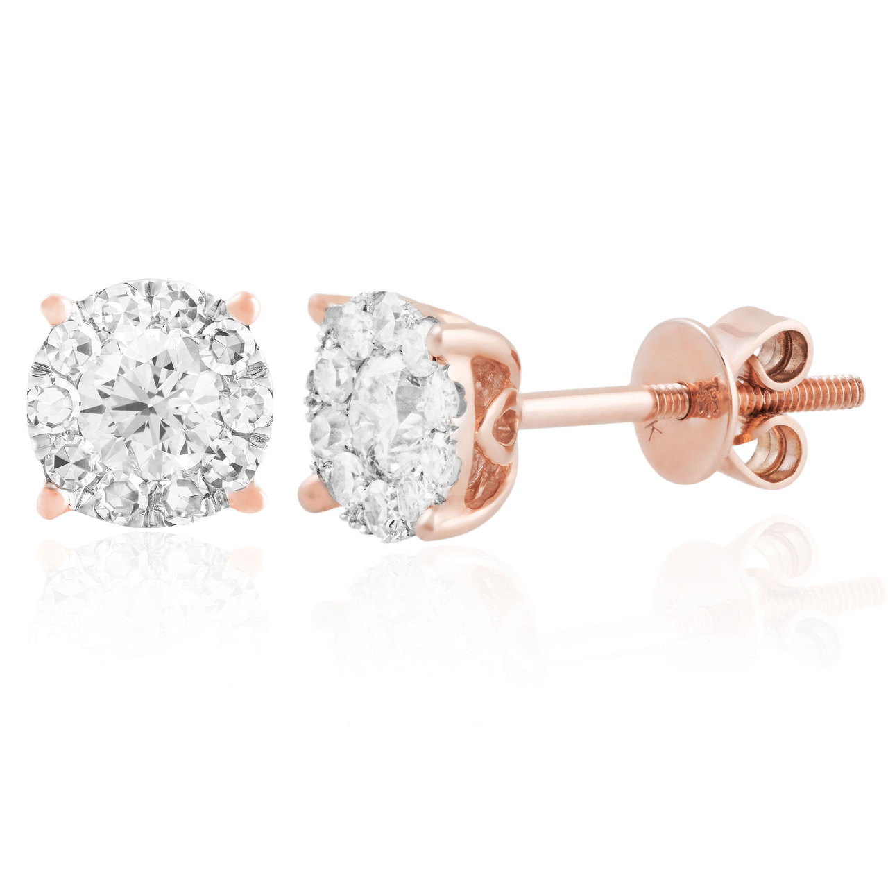 14k Rose Gold 75ct Diamond Studs Shyne Jewelers