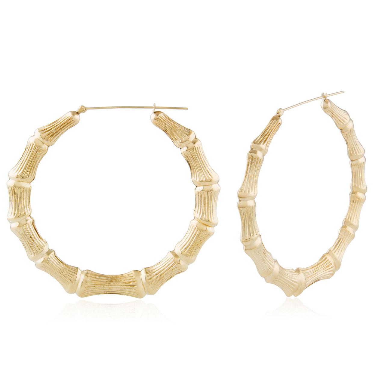 ad2664748 14k Yellow Gold Large Bamboo Hoops - Shyne Jewelers