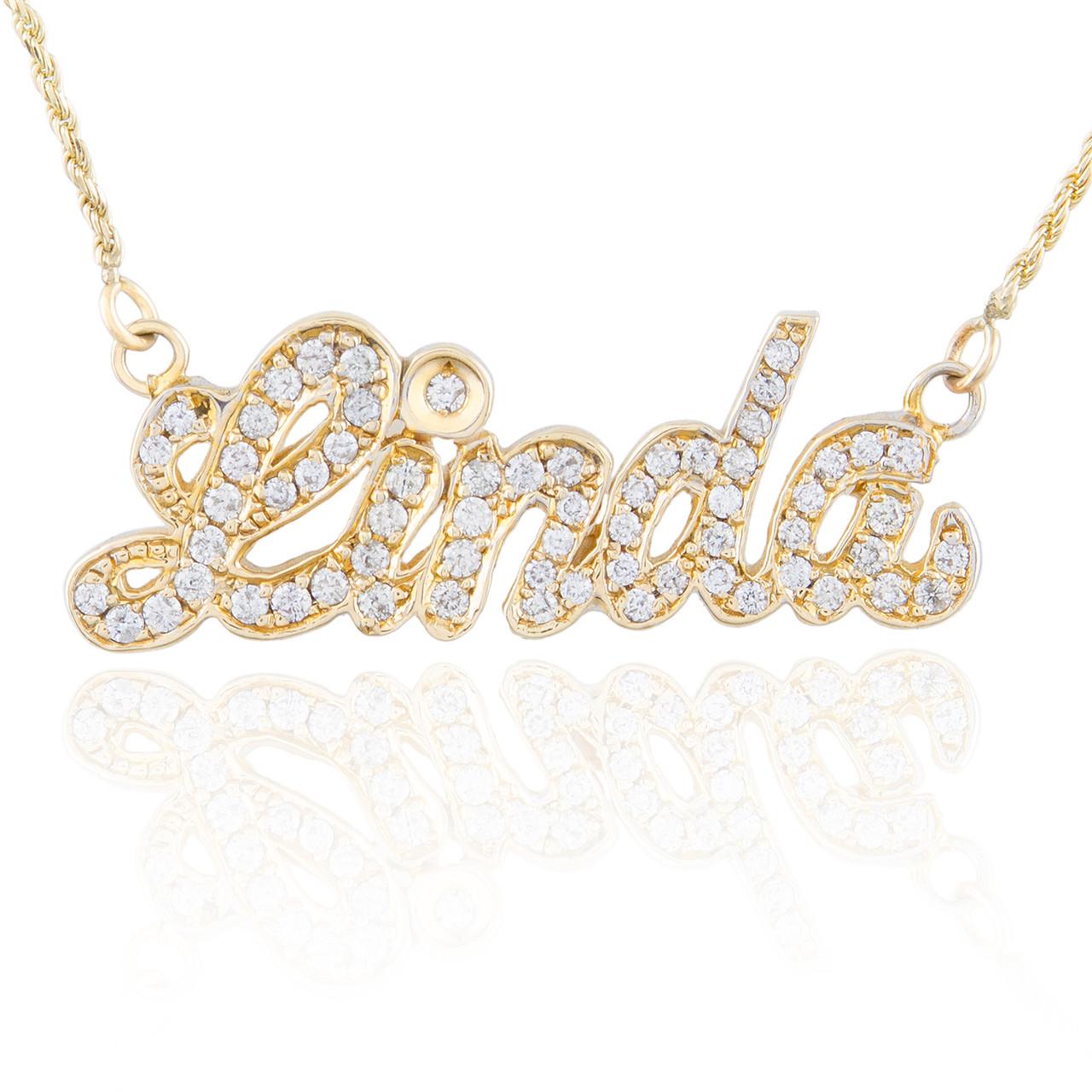 5ed3591edf495 10k Yellow Gold Diamond Name Necklace