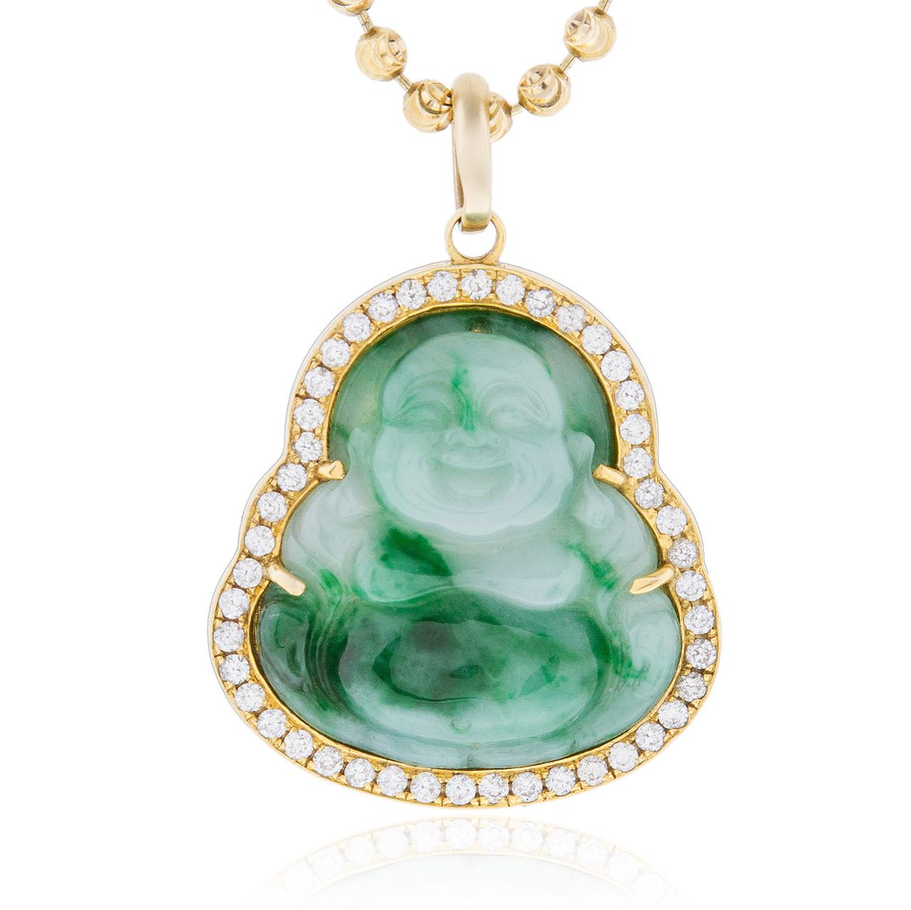 9622b064be333e 10k Yellow Gold 1ct Diamond Jade Buddha Pendant - Shyne Jewelers