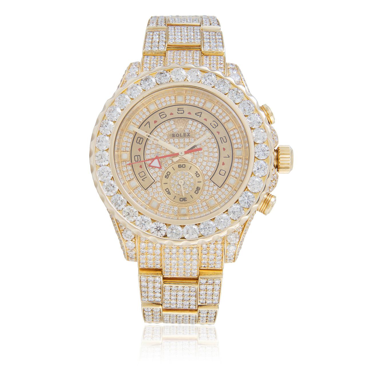Rolex Yacht Master Ii 18k Yellow Gold 35ct Diamond Automatic Men S Watch