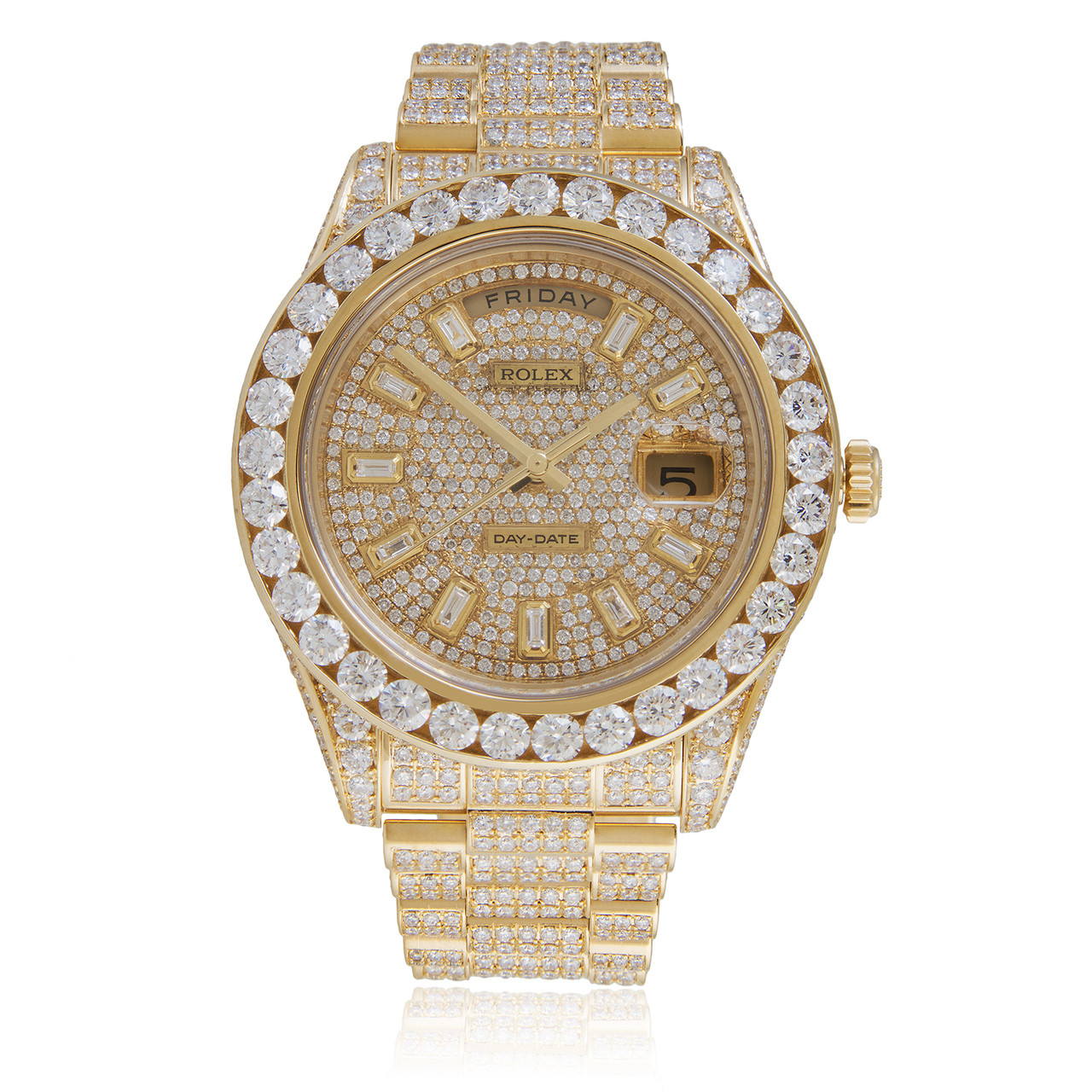 Rolex Day Date Ii 18k Yellow Gold President 36ct Diamond Automatic Men S Watch