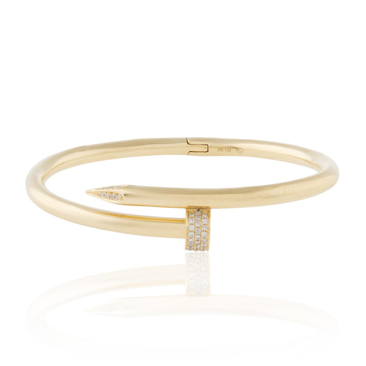 62ea82ee55e8a 18k Yellow Gold .50ct Diamond Nail Bracelet