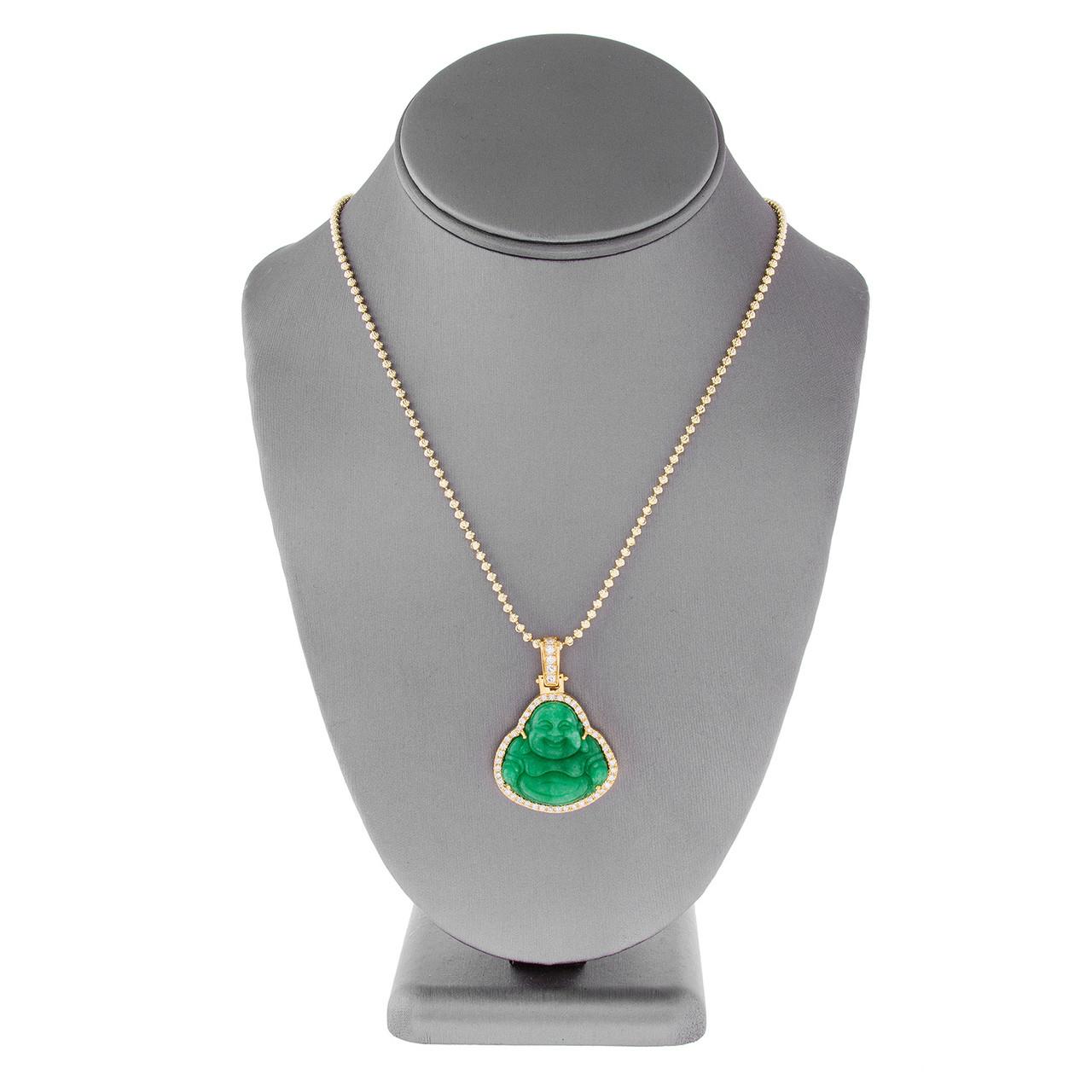 e71c4c7a351ecb 14k Yellow Gold 1.5ct Diamond Jade Buddha Pendant - Shyne Jewelers