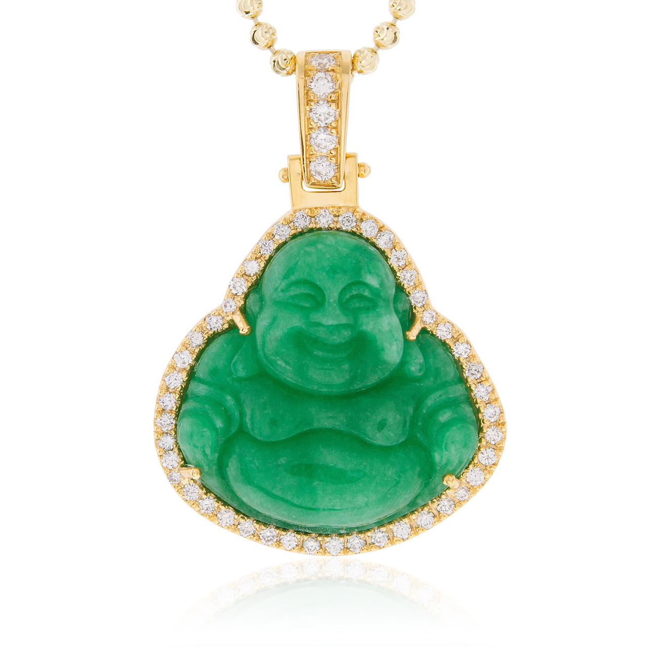 10k Gold Cuban Link Chain >> 14k Yellow Gold 1.5ct Diamond Jade Buddha Pendant - Shyne Jewelers