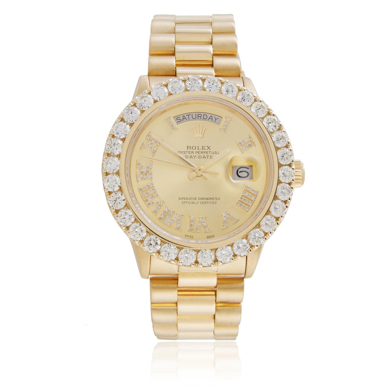 Rolex Day Date 18k Yellow Gold President 65ct Diamond Bezel Automatic Mens Watch