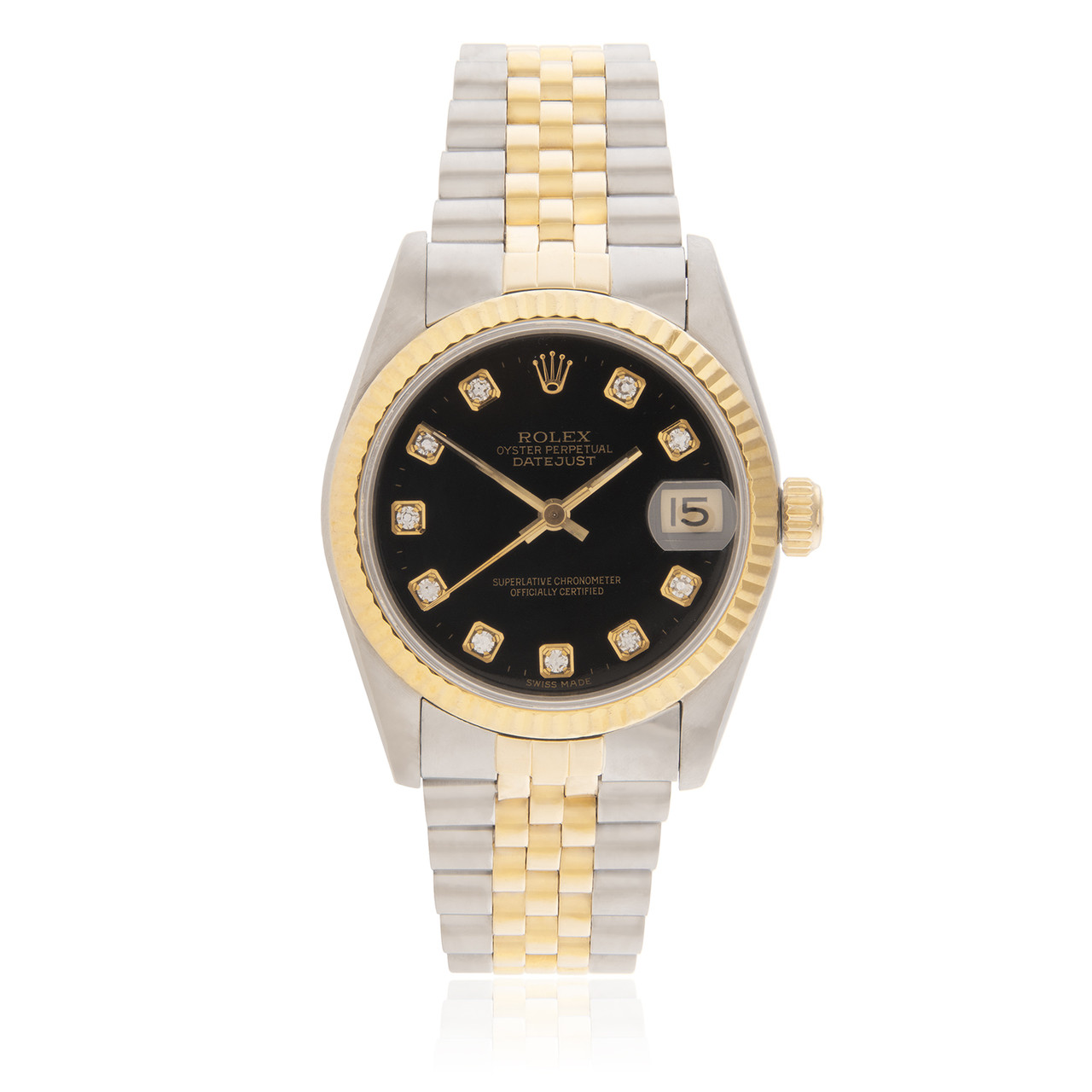 Rolex DateJust Black Diamond Dial 36mm Two,Tone Men\u0027s Watch