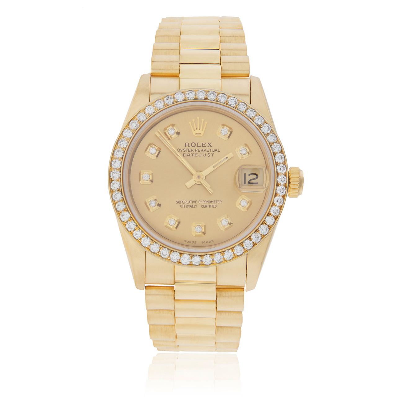 Rolex DateJust 18K Yellow Gold President 1.75ct Diamond Bezel Automatic  Women\u0027s Watch