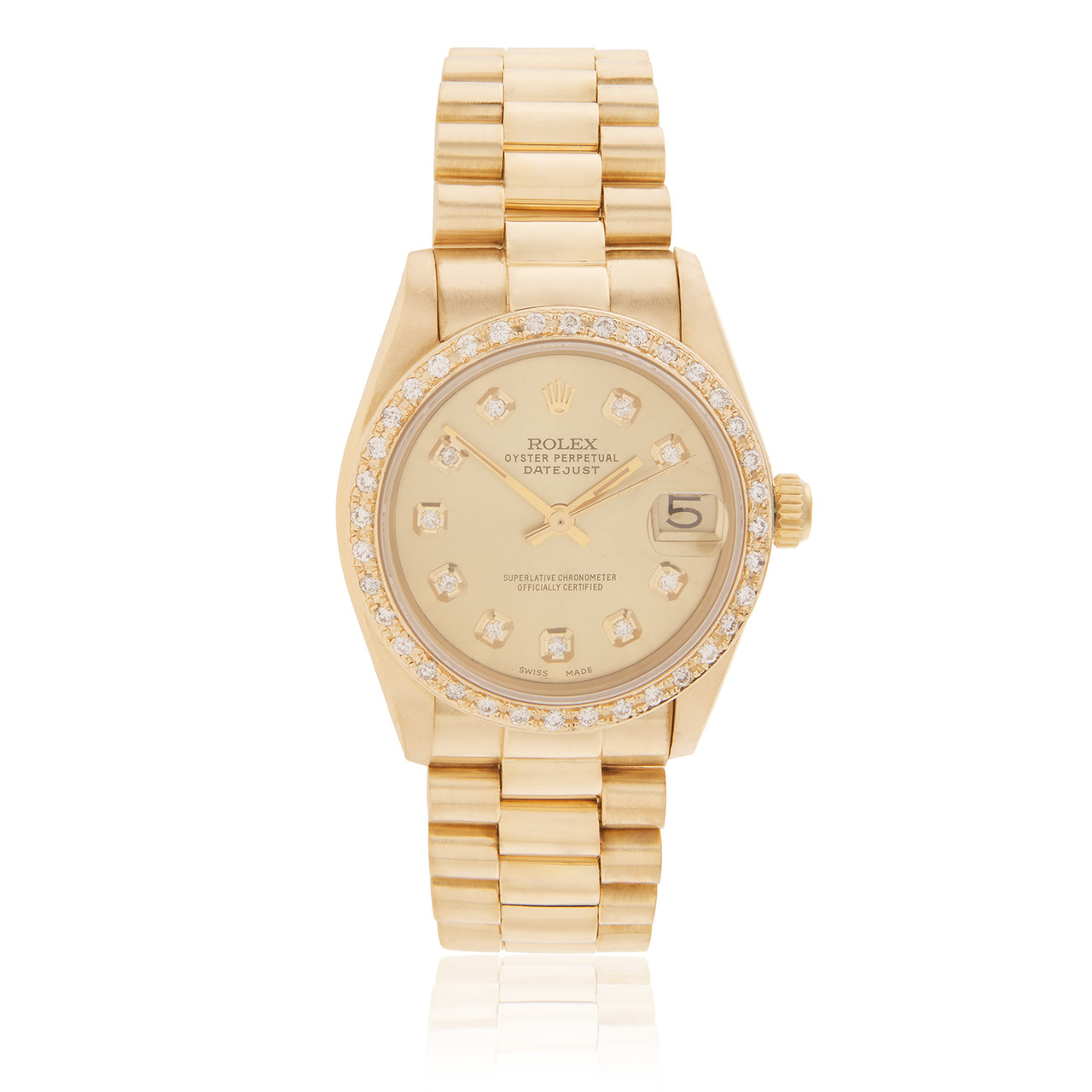 Rolex Lady Datejust 18k Yellow Gold President 1 5ct Diamond Bezel Automatic Women S Watch Shyne Jewelers