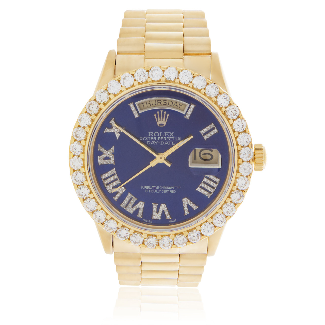 Rolex Day Date 18k Yellow Gold President Blue Face 395ct Diamond Automatic Mens Watch