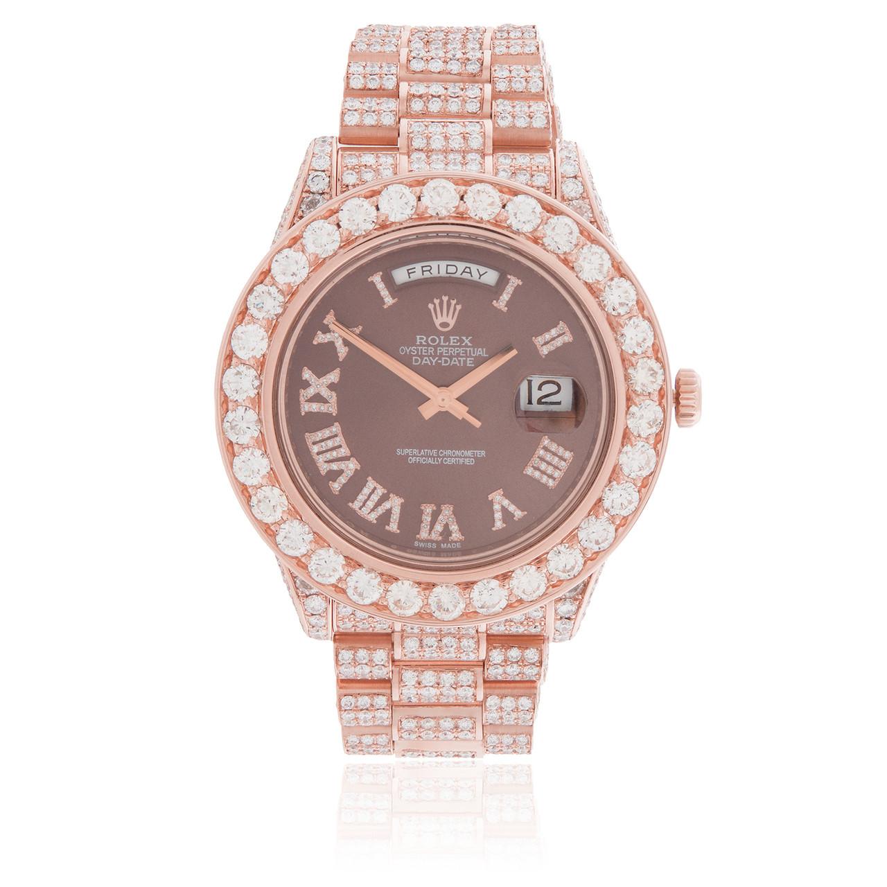 8b6a476c166a Rolex Day-Date 18K Rose Gold President 21.5ct Diamond Automatic Men s Watch  - Shyne Jewelers