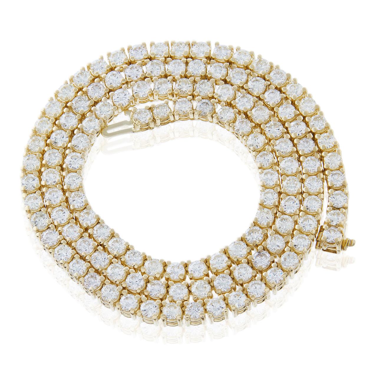 2be8fdc8ff40c 14k Yellow Gold 28ct Diamond Tennis Chain 26.5in