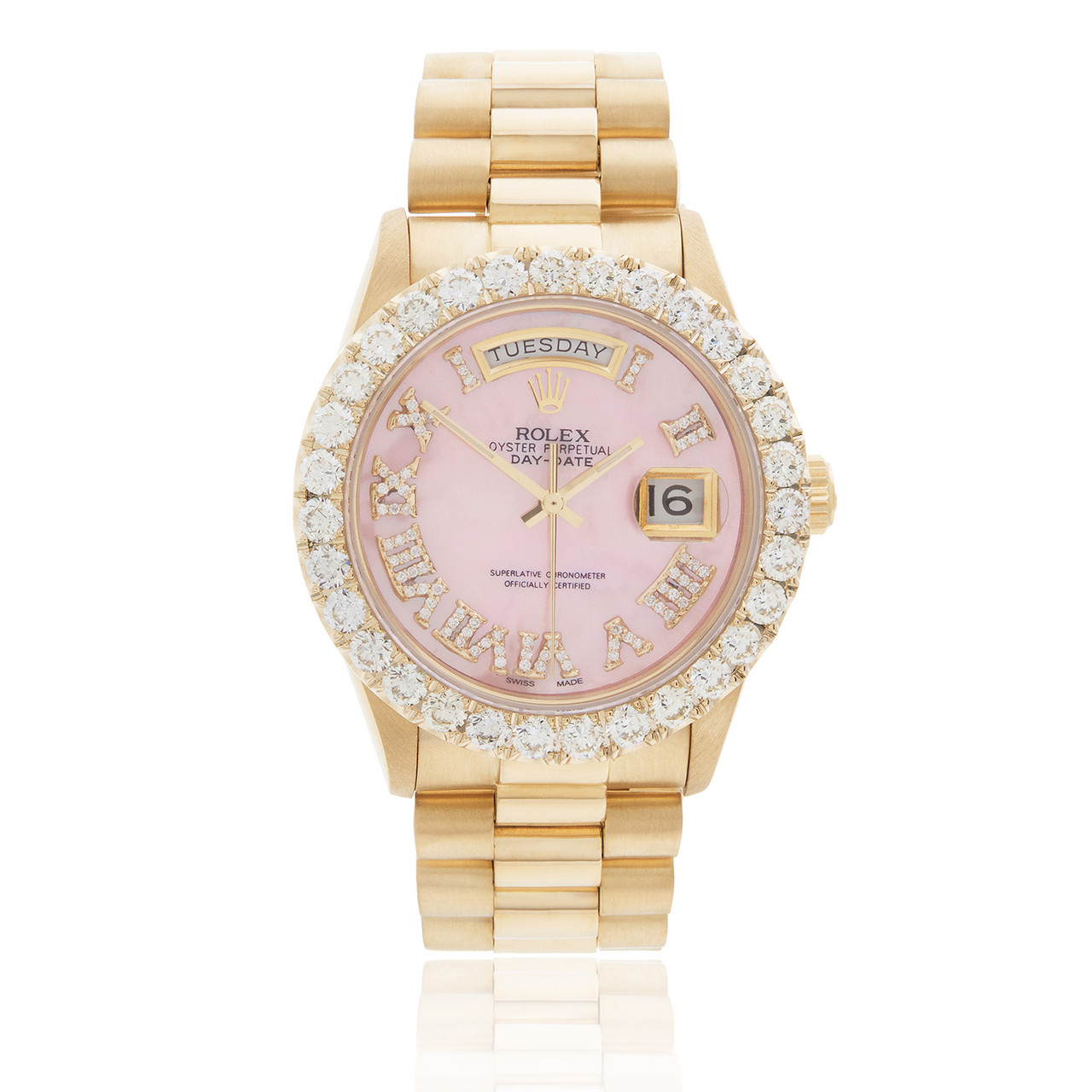 197032769e9 Rolex Day-Date 18K Yellow Gold President Pink Mother of Pearl 5ct Diamond  Bezel Automatic Men's Watch - Shyne Jewelers