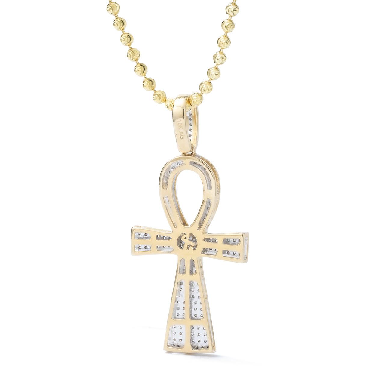 Fine 10k Rose Gold Ancient Egyptian Ankh Cross Eternal Life Pendant Necklace